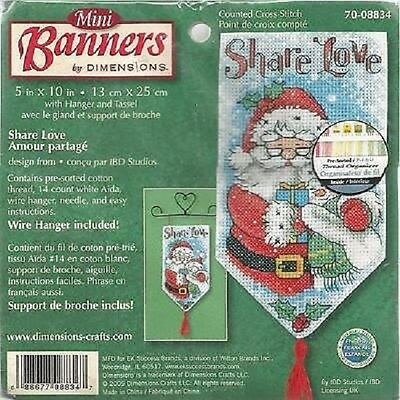 Counted Cross Stitch SHARE LOVE Banner; Christmas Ornament!  Wall-Hanging!