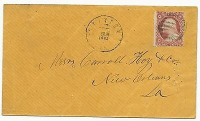 US Scott #26 on Cover Used in CSA Clinton, LA May 25, 1861 VF