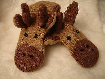 MOOSE MITTENS knit ADULT thidwick PUPPET bullwinkle FLC LINED animal costume