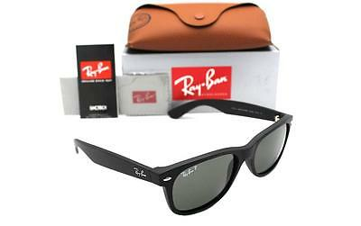 NEW Ray-Ban NEW WAYFARER RB 2132 622/58 55MM  MATTE BLACK RUBBER GREEN POLARIZED