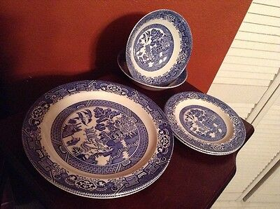 WOODS WARE WILLOW TRANSFER WARE 6 PCS 25 And 17 CM FROM ENGLAND