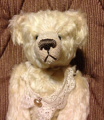 """Awesome 12"""" Lori Ann Baker Jointed Golden Mohair Teddy Bear Dated 1993 on Tag"""