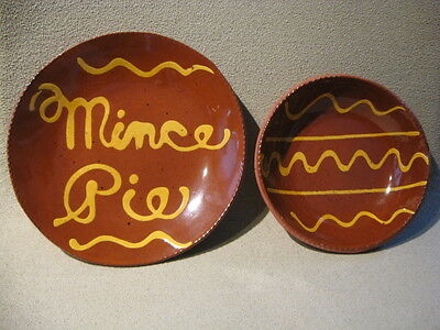 """TWO ORIGINAL """"LESTER BREININGER"""" ROBESONIA,PA- REDWARE-MINCE PIE/& BOWL"""