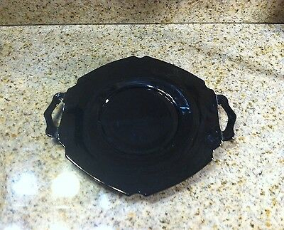 """Vintage Mt. Pleasant Black Amethyst 7"""" Two-Handled Plate By L. E.Smith Glass Co."""