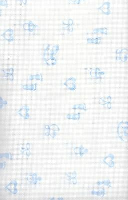 14 Count Zweigart Baby Blue Patterned Aida Cross Stitch Fabric FQ 49 x 54 cms