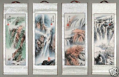 4 Japanese Calligraphy Painting Scroll *Landscape* #w61