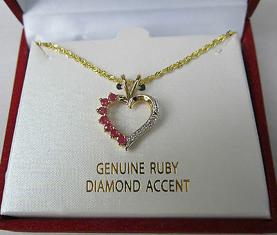 24K GOLD OVER STERLING SILVER CHAIN / GENUINE RUBY / DIAMOND ACCENT NECKLACE