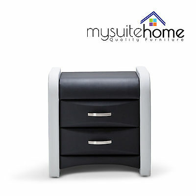 Marco Modern PU Leather Bedside Table Nightstand Cabinet with Storage Drawers