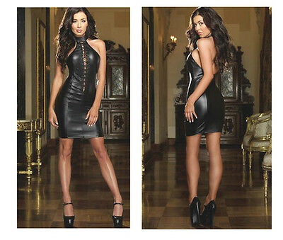 SEXY LACE UP FRONT MINI DRESS BLACK LEATHER LOOK CLUB DANCE S/M NEW FASHION ZT