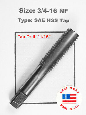 """3/4-16 NF 3/4"""" x 16 TPI TTap HSS Greenfield Morse Butterfield others sae std O2"""