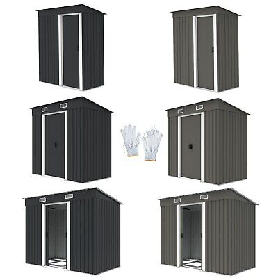 FoxHunter New Garden Shed Metal Pent Roof Outdoor Storage With Free Foundation