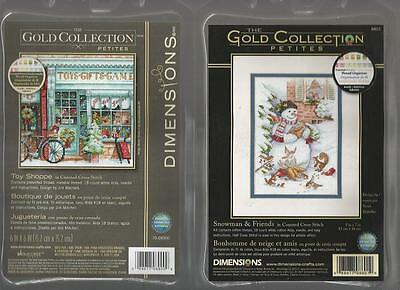 LOT OF 2 Counted Cross Stitch Kits TOY SHOPPE ~ SNOWMAN & FRIENDS