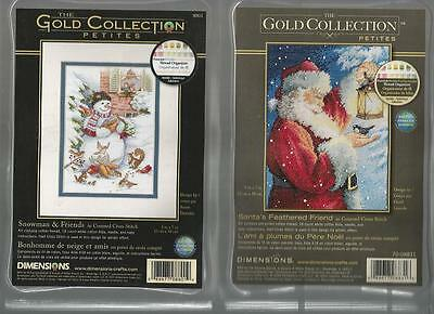 LOT OF 2 Counted Cross Stitch Kits SANTA'S FEATHERED FRIEND~SNOWMAN & FRIENDS