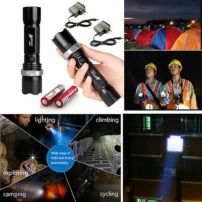 2PC CREE UltraFire Tactical LED XM-L Flashlight Torch+18650 Battery+Charger