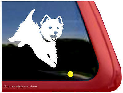 Jumping Westie West Highland White Terrier Dog Window Sticker Decal