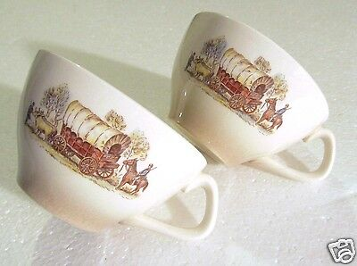 2 Antique 1930s 1940s Coffee Cups Landscape Covered Wagon Oxen Soldier EXC COND