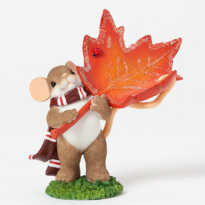 Charming Tails Mouse Holding Maple Leaf Figurine 4041167 Fall Autumn NEW