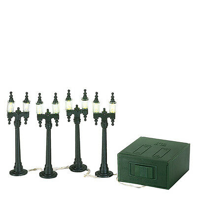 Dept 56 VILLAGE DOUBLE STREET LAMPS 59960 Set of 4   D56 NEW Christmas Accessory