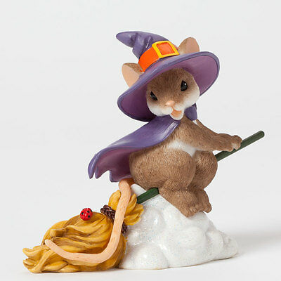 Charming Tails Witch on Broom Mouse Figurine 4041161 Halloween Fall Autumn NEW