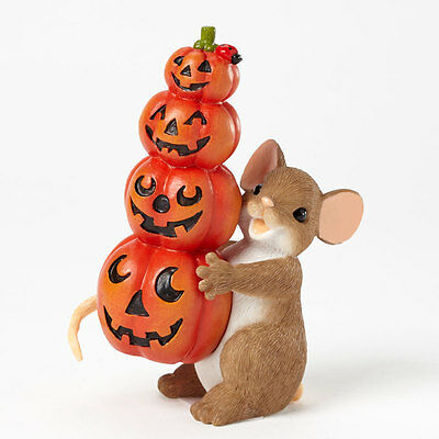 Charming Tails Stacked Pumpkins Mouse 4041157 Figure Halloween Fall Autumn NEW