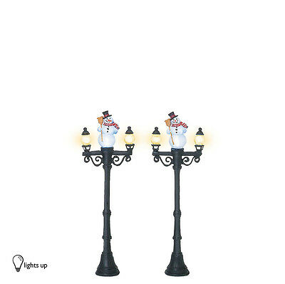 Dept 56 SNOWMAN STREET LIGHTS 53189 Set of 2  D56 NEW Christmas Village