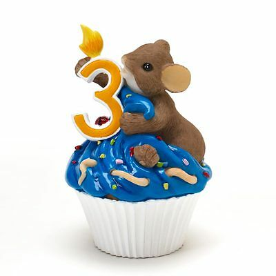 Charming Tails Happy Birthday Cupcake Year 3 Mouse Figure NEW NIB 4020633 Enesco