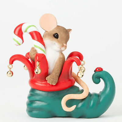 Charming Tails Elf Shoe Sole Figurine 4041182 Friend Mouse NEW Christmas