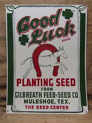 Vintage Good Luck Seed Feed Sign Muleshoe Texas > Antique Farm Metal Horse 9236