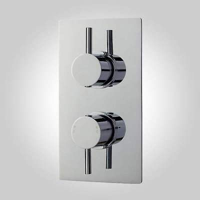 Modern Concealed Thermostatic Chrome Twin Shower Valve