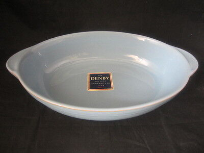 Denby Colonial Blue Pottery Oval Roaster Roasting Dish - Stoneware Tableware