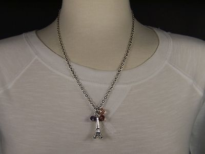 "Silver tone beaded La Tour Eiffel Tower 19"" long necklace Paris France pendant"
