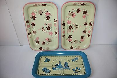 "3 VINTAGE METAL CAFETERIA SERVING TRAY PINK & BLUE 14 1/4 x 8 3/4"" EUC"