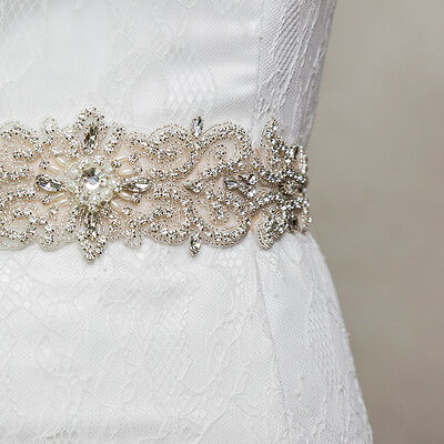 Vintage New Crystal Pearls Flower Bridal Dress Sash Wedding Beaded Jeweled Belt