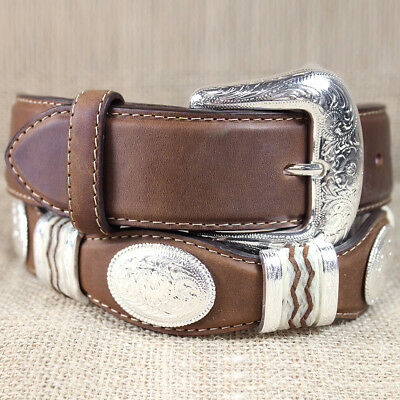 Tony Lama Dark Brown Cutting Champ Scallop Western Leather Men's Belt