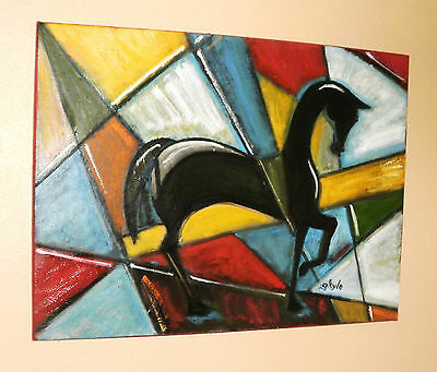 Horse oil painting Large colorful abstract modern contemporary