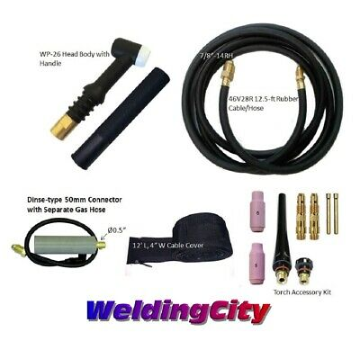 TIG Welding Torch 26 (200Amp) 12-ft Air-Cool Complete Package for Miller Welder