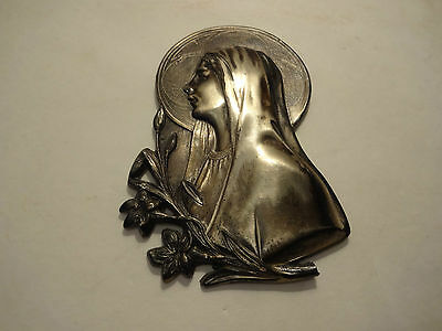 1920's 3-D VTG VIRGIN MARY 10314 CAST BRASS OR PEWTER SILVER TONE PLAQUE WALL HA