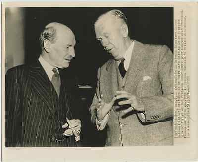 George Marshall and United Kingdom's Clement Attlee 1950 vintage press photo