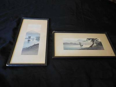 Vintage Antique Pair Signed Japanese Watercolor Paintings Ship Sail Boat Scenes