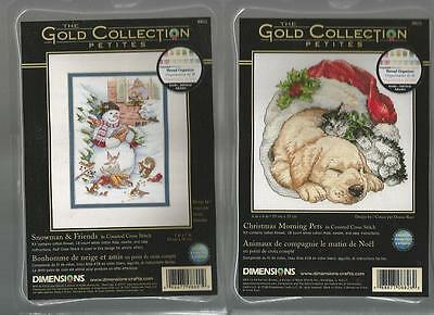 LOT OF  2 Counted Cross Stitch Kits CHRISTMAS MORNING PETS~SNOWMAN & FRIENDS