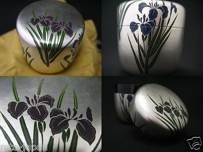 Japanese Lacquer WOODEN Tea caddy IRIS makie SILVER Leaf Chu-Natsume (0319)