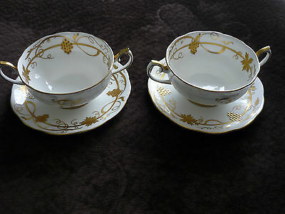 2 Royal Albert Cream Soup Bowls W/Saucer/Stand, England, White & Gold, Gorgeous!