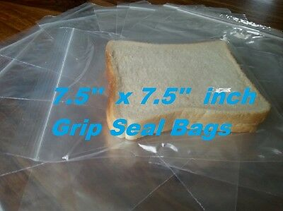 7.5'' x 7.5 GRIP SEAL SANDWICH FOOD FREEZER SCHOOL LUNCH BAGS, RESEALABLE GL10