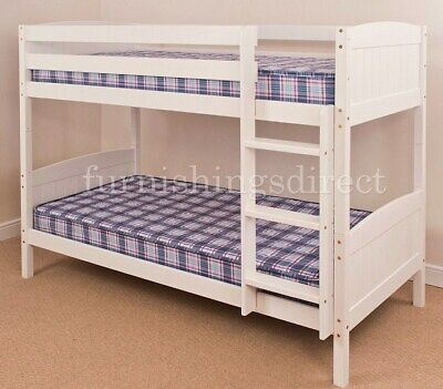 3Ft Single, 2Ft6 Shorty White, Antique, Natural Pine Bunk Bed + Mattress Options