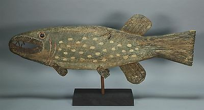 Vintage Folk Art Carved Wood Painted Fish Weathervane Trade Advertisement Sign