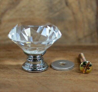 Set Of 7 Handle Crystal Zinc Cast Iron Clear Glass Sparkle Cabinet Drawer Door