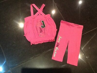 Juicy Couture New & Genuine Baby Girl Pink Two Piece With Juicy Logo 6/12 MTHS