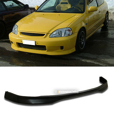 Fit Poly Urethane T Style PU Front Bumper Chin Lip Body Kit Ground Effect