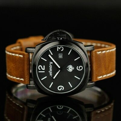 INFANTRY ARMY SOLDIER LUXURY POLICE MEN'S WRIST SPORTS OUTDOOR WATCH LEATHER U.S