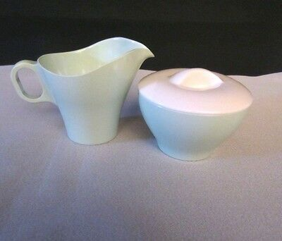 Boonton Ware Somerset Melmac Mint Green Creamer and Sugar Bowl with Lid